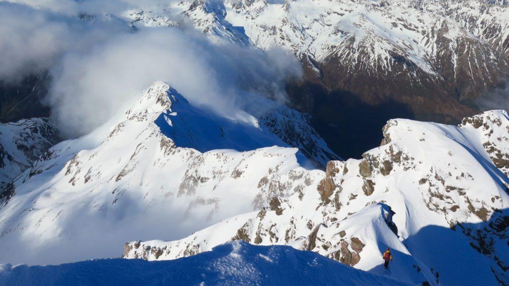 Descending from high peak